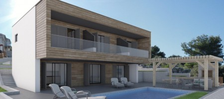 Villa under construction for sale, third row from the sea with a panoramic sea view and view on Rogoznica